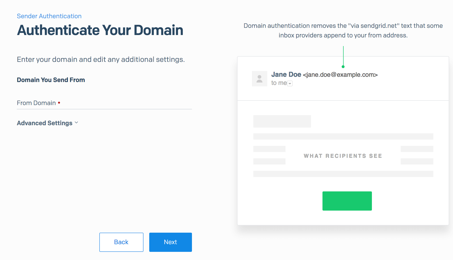 Authenticate email domain in SendGrid - Enter domain