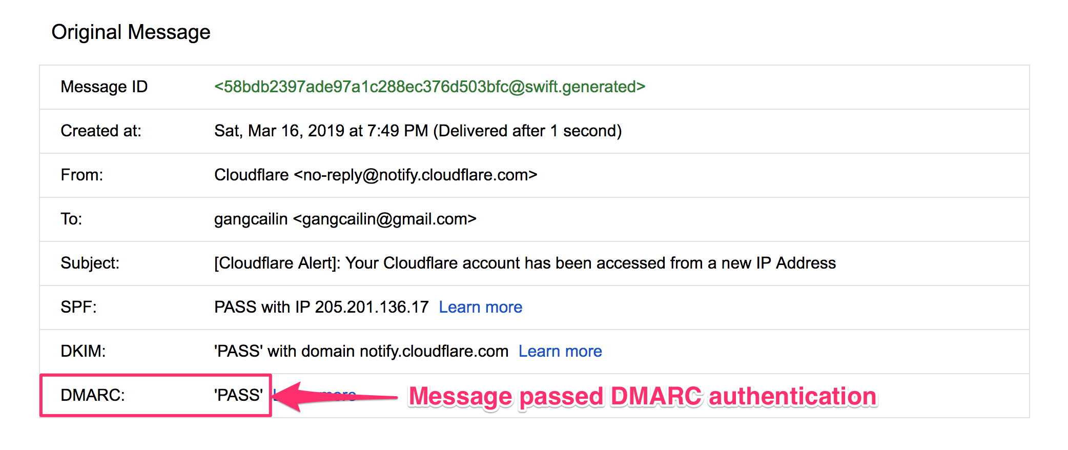 DMARC check pass in Gmail