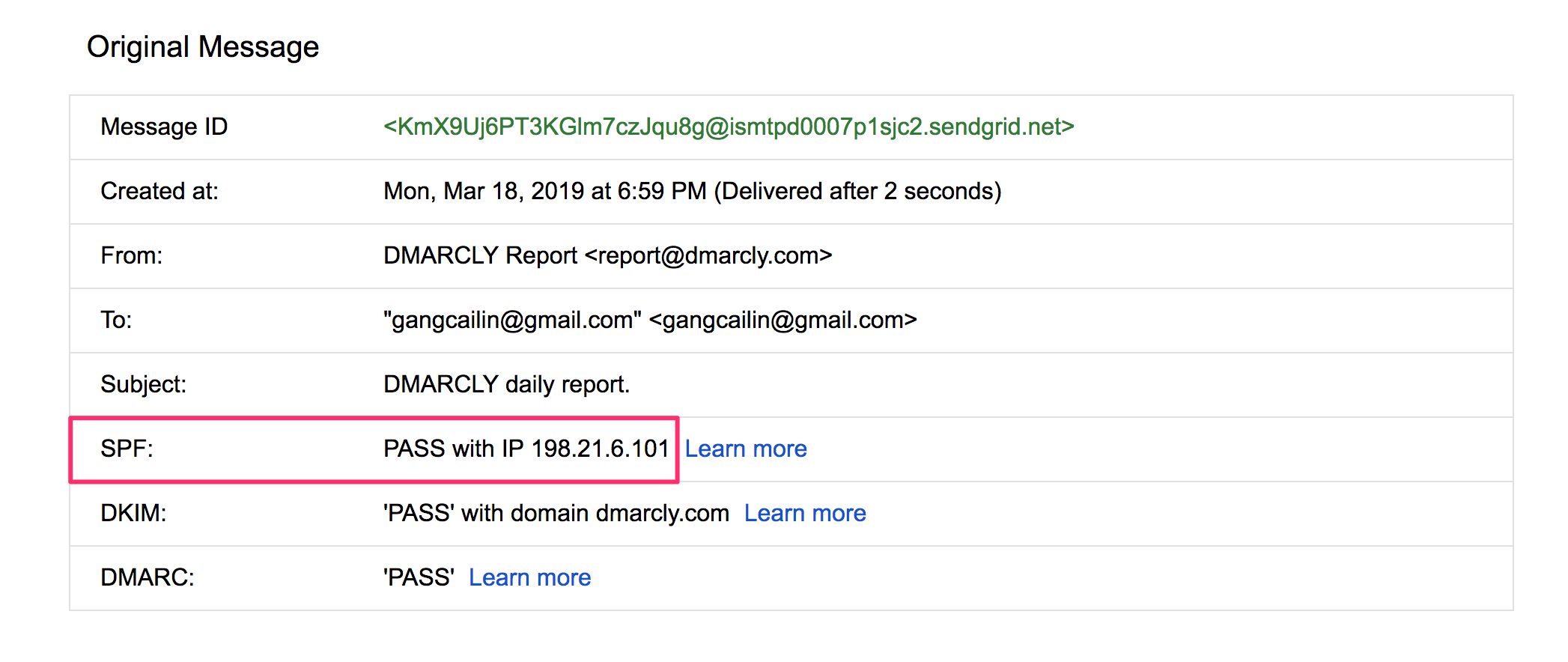 View SPF check result in Gmail
