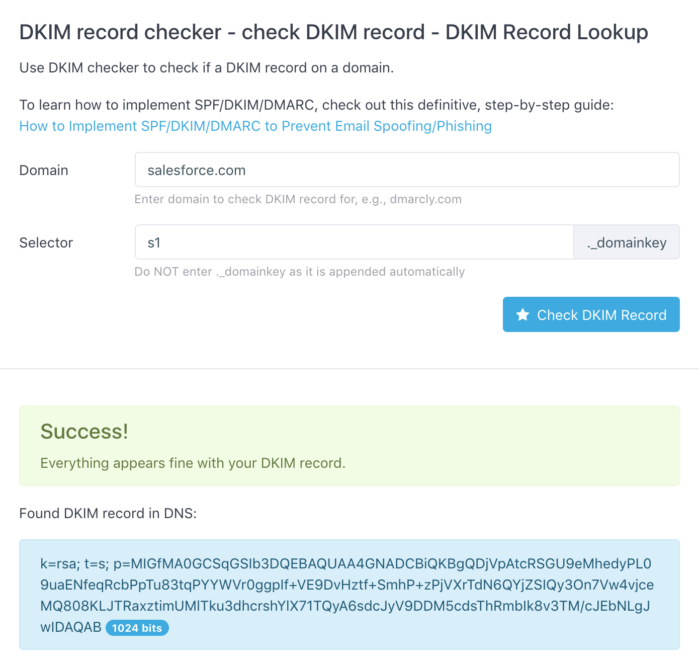 Find DKIM record by DKIM selector on domain